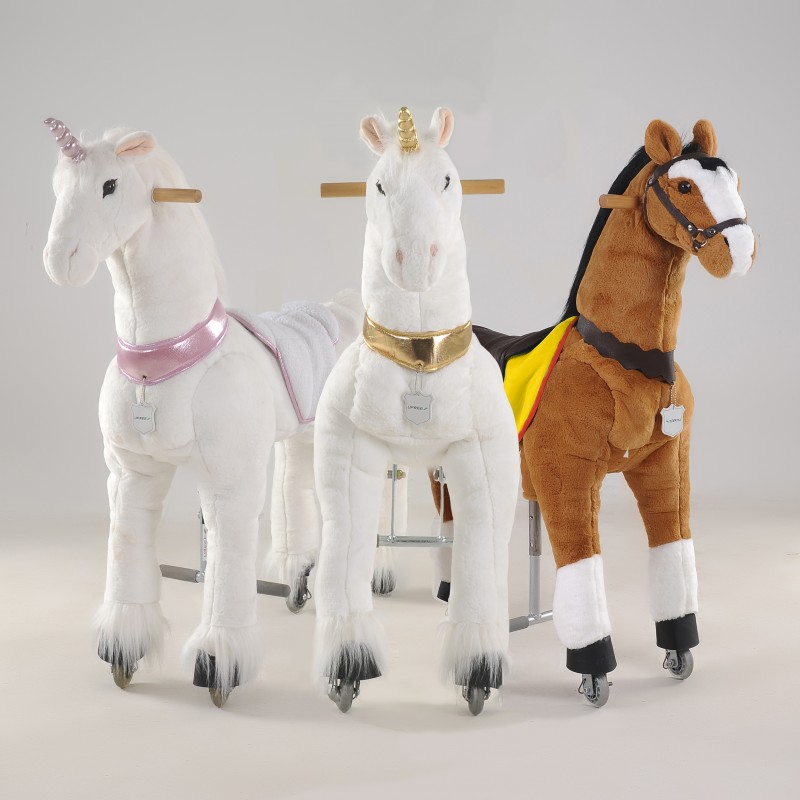 Three Ufree Large 44 Mechanical Ride On Horses Golden And